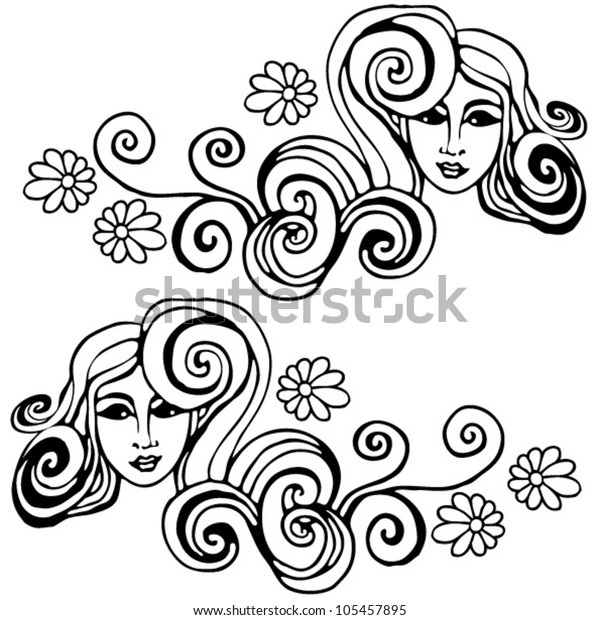 Curly Hair Girl Drawing Stock Vector Royalty Free 105457895