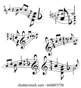 Curly musical scores with notes and G clef. Vector set musical scores.