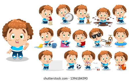 Curly redheaded boy in blue t-shirt, jeans. Kid in different poses and situations: plays, learns, reads. Full length front and three quater view. Ready to use cartoon vector set isolated on white.