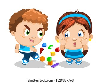 Curly red-headed troublemaker with freckles offends her friend, takes away, scatters toys. The girl is upset, scared, crying. Concept of children's conflicts, problems, quarrels, relationships.