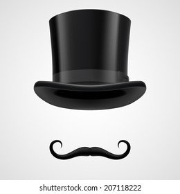 curly retro moustaches and top hat elements. mysterious victorian aristocrat on grey bacground