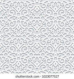 Curly vector ornament, seamless scrollwork pattern in grey color, lace texture
