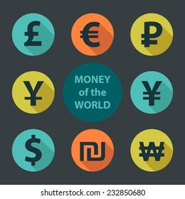 Currencies of different countries in the style of flat