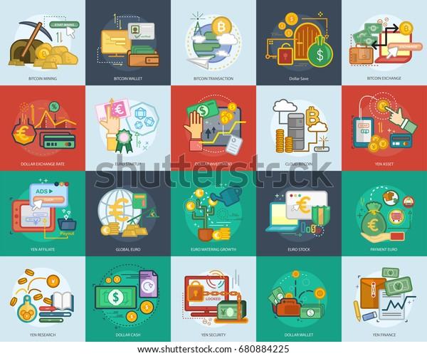Currencies Dollar, Euro, Yen, Bitcoin Conceptual Design