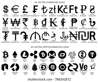Currencies signs vector set, vector currency symbols isolated over white background, world currency and cryptocurrency signs with names and codes big collection