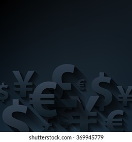 Currencies symbols paper black abstract background. Yen dollar euro pound business finance vector illustration.