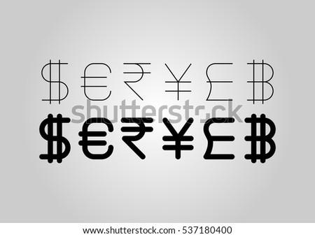 Currencies Symbols Such British Pound Dollar Stock Vector Royalty