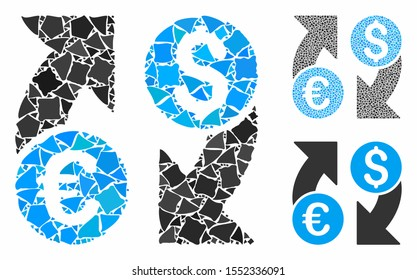 Currency change mosaic of tuberous parts in variable sizes and shades, based on currency change icon. Vector abrupt parts are combined into mosaic. Currency change icons collage with dotted pattern.