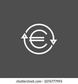 Currency conversion flat vector icon. Euro conversion flat vector icon