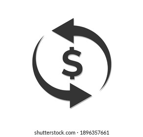 Currency conversion flat vector icon. Dollar conversion flat vector icon.