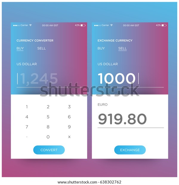 Currency Converter App Screen Ui Design Stock Vector (Royalty Free