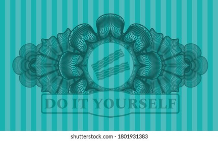 Currency decoration bacon icon and Do It Yourself text Turquoise emblem. Bars delicate background. Artistic illustration.