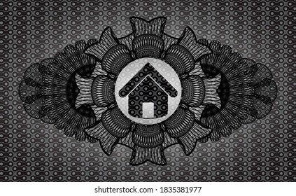 Currency decoration house icon inside black abstract emblem. Pattern delicate background. Intense illustration.