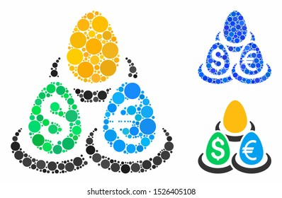 Currency deposit diversification composition for currency deposit diversification icon of circle elements in variable sizes and color hues. Vector filled circles are composed into blue composition.