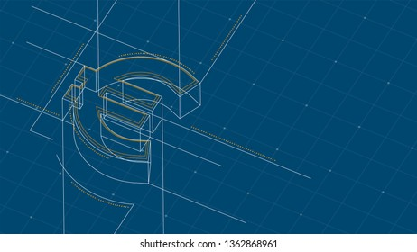 Currency EUR (European Euro) isometric symbol dot and dash line frame structure pattern wireframe, Digital money cryptocurrency concept illustration isolated on blue background with space