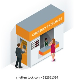 Currency exchange booth. Finance and money. Man with credit card into ATM and takes the money from the ATM.