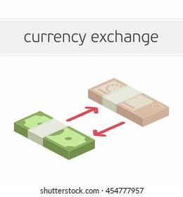 Currency exchange concept. Modern banner template of currency exchange, money exchange. Dollar to euro foreign currency exchange illustration for apps, websites or signboard.