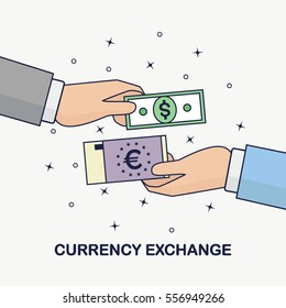 Currency exchange, Foreign money transfer. Dollar, euro symbols. Forex, business concept. Human hand holds bank bill, cash isolated on background. Flat line cartoon design. Vector illustration.