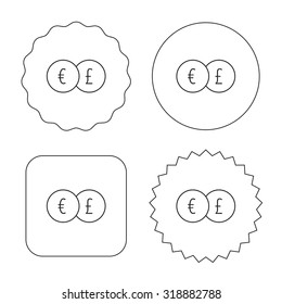 Currency exchange icon. Banking transfer sign. Euro to Pound symbol. Flat circle, star and emblem buttons. Labels design. Vector