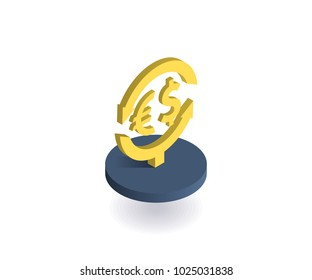 Currency exchange icon. Vector illustration in flat isometric 3D style.