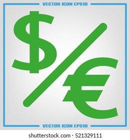 Currency exchange icon vector illustration eps10. Isolated badge dollar and euro for website or app - stock infographics