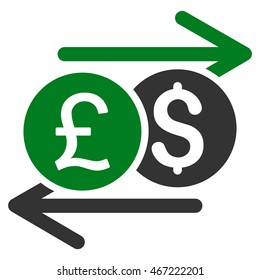 Currency Exchange icon. Vector style is bicolor flat iconic symbol with rounded angles, green and gray colors, white background.