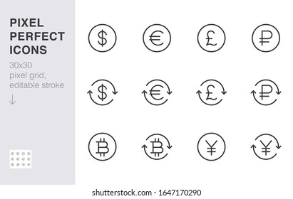 Currency exchange line icon set. Dollar, euro, pound, russian ruble, yen, bitcoin minimal vector illustration. Simple outline money signs for financial application. 30x30 Pixel Perfect Editable Stroke