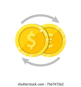 Currency exchange logo, flat vector illustration. Coin with dollar, euro sign and arrows