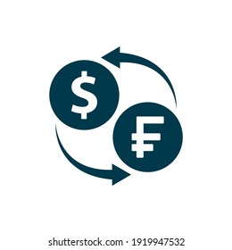 Currency exchange. Money conversion. Franc to dollar icon concept isolated on white background. Vector illustration