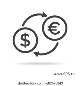 Currency exchange outline icon black color isolated on white background