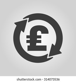 The currency exchange pound sterling icon. Cash and money, wealth, payment symbol. Flat Vector illustration