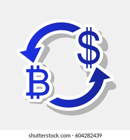Currency exchange sign. Bitcoin and US Dollar. Vector. New year bluish icon with outside stroke and gray shadow on light gray background.