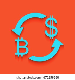 Currency exchange sign. Bitcoin and US Dollar. Vector. Blue icon with soft shadow putted down on flamingo background.