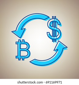 Currency exchange sign. Bitcoin and US Dollar. Vector. Sky blue icon with defected blue contour on beige background.