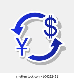 Currency exchange sign. China Yuan and US Dollar. Vector. New year bluish icon with outside stroke and gray shadow on light gray background.
