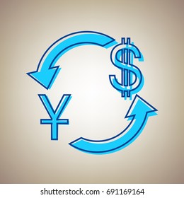 Currency exchange sign. China Yuan and US Dollar. Vector. Sky blue icon with defected blue contour on beige background.