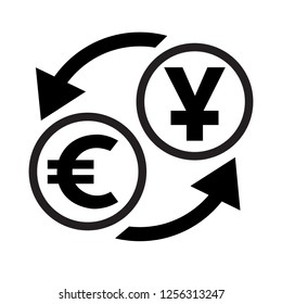 Currency exchange sign. Chinese Yuan and  Euro. Flat style black icon on white.