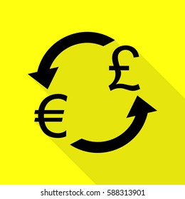 Currency exchange sign. Euro and UK Pound. Black icon with flat style shadow path on yellow background.