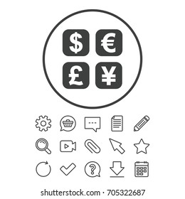 Currency exchange sign icon. Currency converter symbol. Money label. Document, Chat and Paper clip line signs. Question, Pencil and Calendar line icons. Star, Download and Shopping cart. Vector