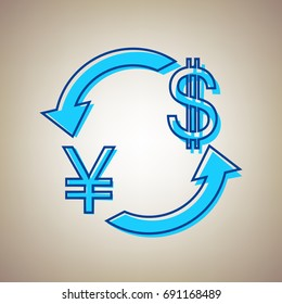 Currency exchange sign. Japan Yen and US Dollar. Vector. Sky blue icon with defected blue contour on beige background.