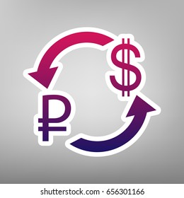 Currency exchange sign. Ruble and US Dollar. Vector. Purple gradient icon on white paper at gray background.
