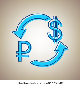 Currency exchange sign. Ruble and US Dollar. Vector. Sky blue icon with defected blue contour on beige background.