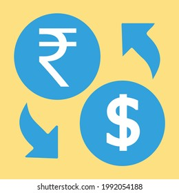 Currency Exchanger INR to USD.  India currency, economy, investment, finance, and business element. Can be used for web, mobile, infographic and print.