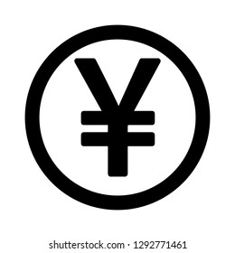 Currency flat icon coin symbols in black circle ring : Japanese Yen JPY black and white vector illustration.
