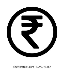 Currency flat icon coin symbols in black circle ring : Indian Rupee INR black and white vector illustration.