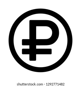 Currency flat icon coin symbols in black circle ring : Russian Ruble Rub black and white vector illustration.