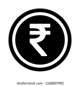 Currency flat icon symbols coin : Indian Rupee INR vector illustration in black and white.