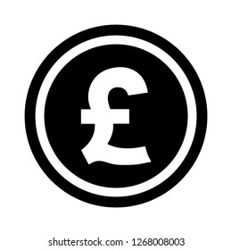 Currency flat icon symbols coin : Great Britain pound sterling GBP vector illustration in black and white.