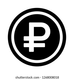 Currency flat icon symbols coin : Russian Ruble Rub vector illustration in black and white.