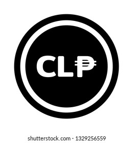 Currency flat icon symbols coin in black circle and white ring : Chile's Chilean peso CLP vector illustration in black and white.